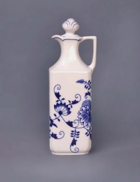 Cibulák karafa hranatá 0,7 l originální cibulákový porcelán Dubí, cibulový vzor, 1.jakost
