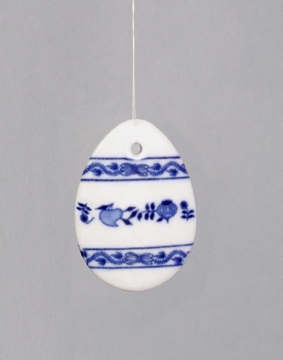 Cibulák Velikonoční ozdoba vajíčko závěs 5,5 cm originální cibulákový porcelán Dubí, cibulový vzor 1. jakost