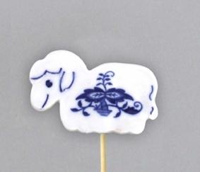 Cibulák Velikonoční ozdoba ovečka zápich 29 cm, originální cibulákový porcelán Dubí, cibulový vzor, 1.jakost