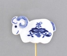 Cibulák Velikonoční ozdoba beránek zápich 29 cm, originální cibulákový porcelán Dubí, cibulový vzor, 1.jakost