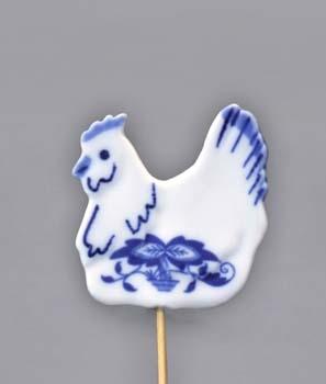 Cibulák Velikonoční ozdoba slepička zápich 29 cm originální cibulákový porcelán Dubí, cibulový vzor 1. jakost