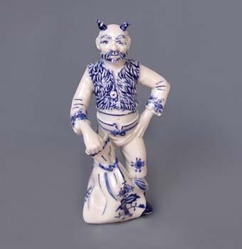 Cibulák čert Lucifer 20 cm, originální cibulákový porcelán Dubí, cibulový vzor, 1.jakost