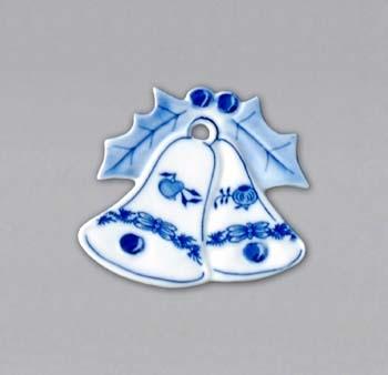 Cibulák vánoční ozdoba zvonky 6,2 cm originální cibulákový porcelán Dubí, cibulový vzor 1. jakost