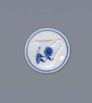 Cibulák Magnetka kulatá mléčenka 4,5 cm originální cibulákový porcelán Dubí, cibulový vzor, 1.jakost