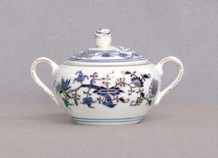 Cukřenka s oušky s víčkem bez výřezu 0,30 l originální cibulák zlacený, cibulový porcelán Dubí 1.jakost
