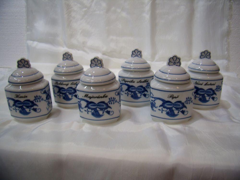 Cibulák Souprava 6 kořenek - originální cibulákový porcelán Dubí , cibulový vzor, 1. jakost