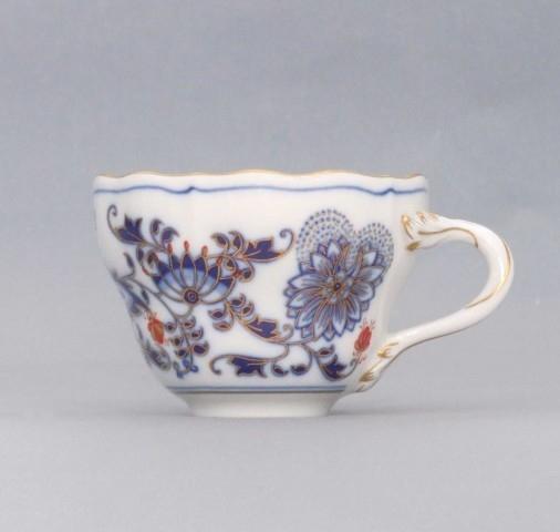 Šálek vysoký A/1, 0,12 l - originální cibulák zlacený s dekorací rubín, cibulový porcelán Dubí 1.jakost