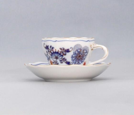 Šálek a podšálek A/1+A/1 0,12 l originální cibulák zlacený s dekorací rubín, cibulový porcelán Dubí 1.jakost