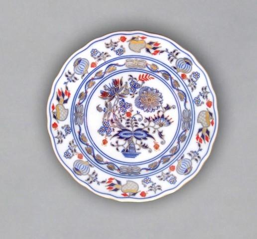 Talíř dezertní praporový 19 cm - originální cibulák zlacený s dekorací rubín, cibulový porcelán Dubí 1. jakost