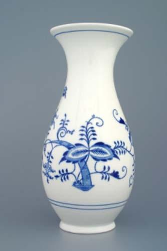 Cibulák váza 1210/3, 25,5 cm originální cibulákový porcelán Dubí, cibulový vzor, 2.jakost