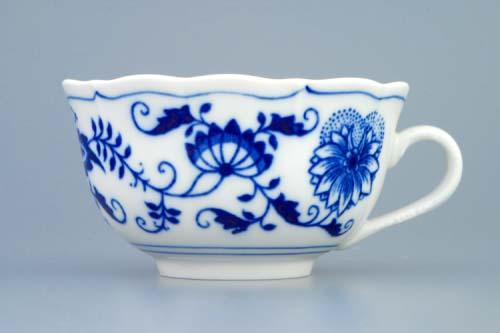 Šálek a podšálek C/1+ZC1 (zrcadlový podšálek) čajový, 0,20 l , originální cibulákový porcelán Dubí, cibulový vzor, 2.jakost