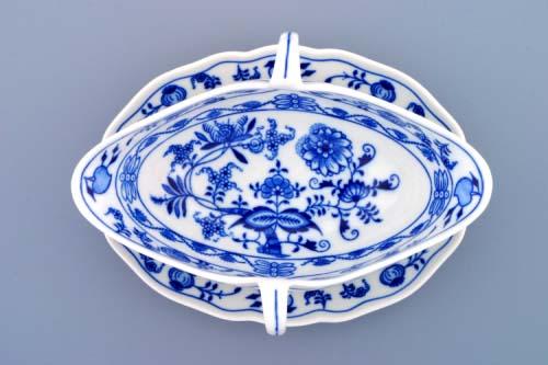 Cibulák omáčník oválný s podstavcem a 2 uchy 0,55 l originální cibulákový porcelán Dubí, cibulový vzor, 2.jakost