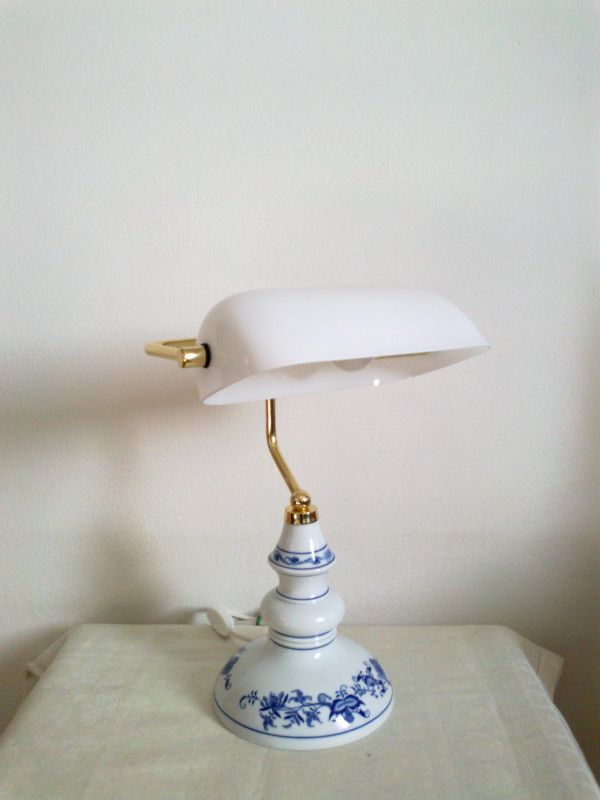 Lampa cibulák bankovní - originální porcelán Dubí - bílá