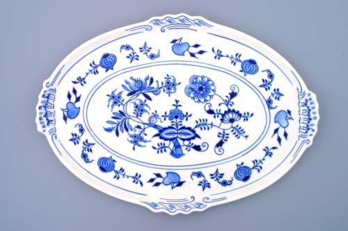 Cibulák podnos oválný 39 cm originální cibulákový porcelán Dubí, cibulový vzor, 1.jakost