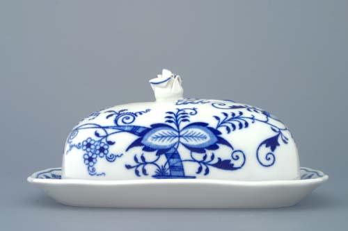 Cibulák Máslenka hranatá velká komplet 19 x 15 cm originální cibulákový porcelán Dubí, cibulový vzor, 2.jakost