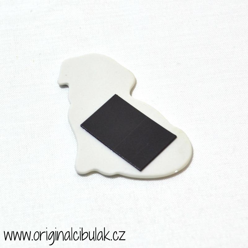 Cibulák Magnetka pejsek 6,3 cm, originální cibulákový porcelán Dubí, cibulový vzor, 1.jakost