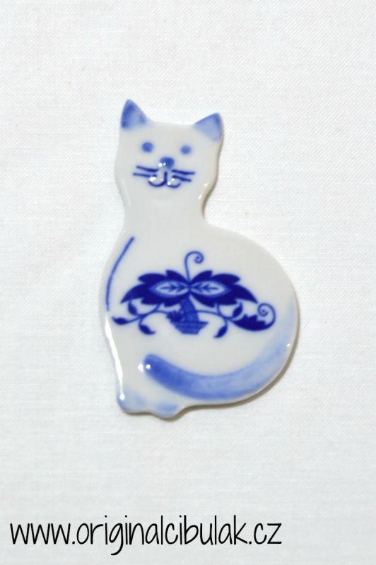 Cibulák Magnetka kočička 6,6 cm, originální cibulákový porcelán Dubí, cibulový vzor, 1.jakost