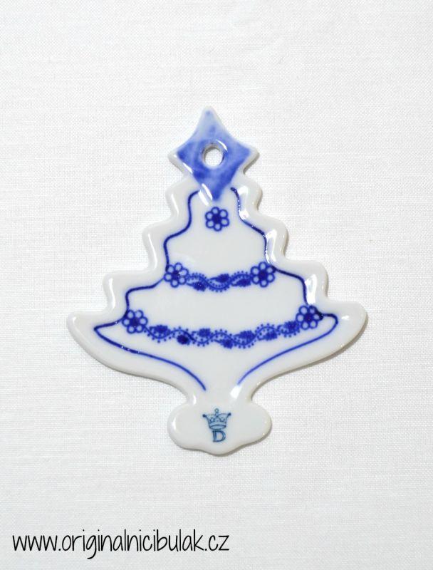 Cibulák vánoční ozdoba stromeček závěs 8,4 cm, originální cibulákový porcelán Dubí, cibulový vzor 1. jakost