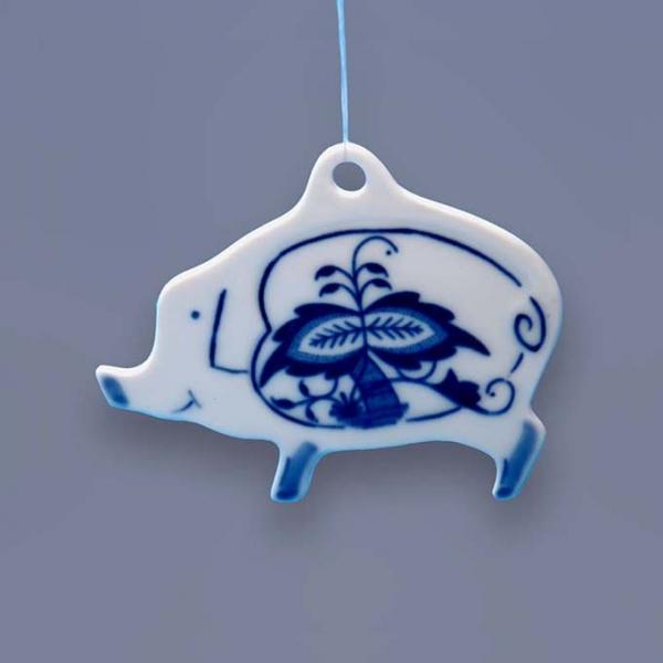 Cibulák vánoční ozdoba prasátko závěs 7,7 cm, originální cibulákový porcelán Dubí, cibulový vzor 1. jakost