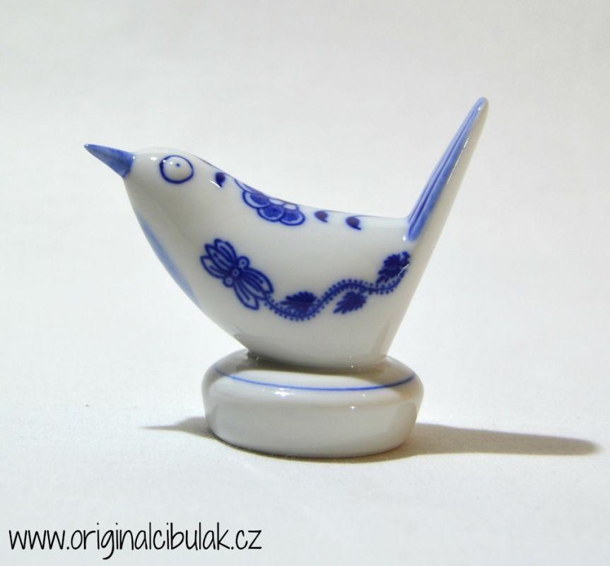 Cibulák Ptáček III malý 8 cm originální cibulákový porcelán Dubí, cibulový vzor, 1.jakost