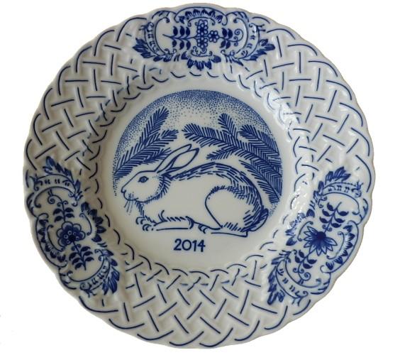 Cibulák výroční talíř 2014, 18 cmoriginální cibulákový porcelán Dubí , cibulový vzor, 1. jakost
