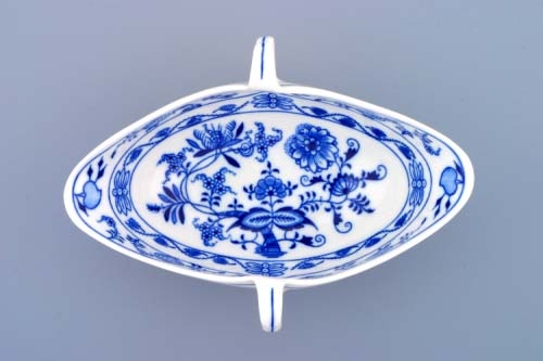 Cibulák omáčník oválný bez podstavce s dvěma uchy 0.55 l originální cibulákový porcelán Dubí, cibulový vzor 1 jakost