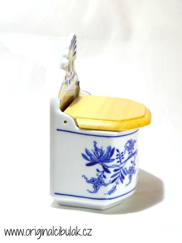 Cibulák slánka závěsná s dřevěným víkem a s nápisem Sůl 0,70 l originální cibulákový porcelán Dubí cibulový vzor 1 jakost