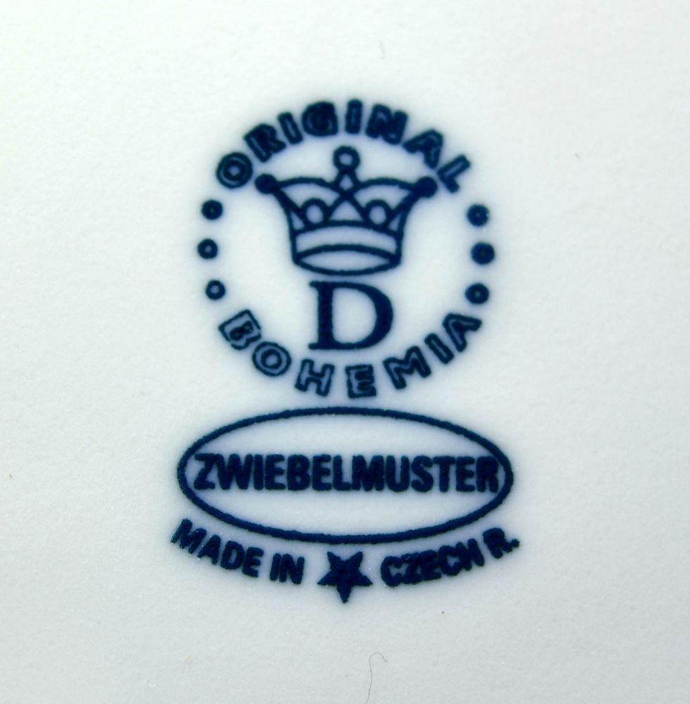 Cibulák Podnos s oušky pod likérovou soupravu mini 21 cm originální cibulákový porcelán Dubí cibulový vzor 1 jakost