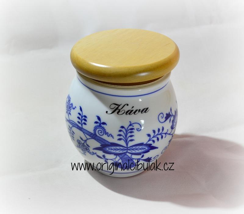 Cibulák dóza Baňák s dřevěným uzávěrem a nápisem 10,5 cm originální cibulákový porcelán Dubí, cibulový vzor, 1.jakost