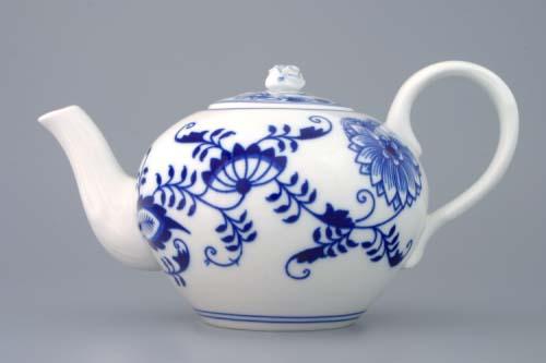 Cibulák konvice čajová s víčkem, 0,65 l, originální cibulákový porcelán Dubí, cibulový vzor, 2.jakost