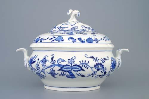 Cibulák Mísa polévková oválná s víkem s výřezem 3 l originální cibulákový porcelán Dubí, cibulový vzor 1. jakost