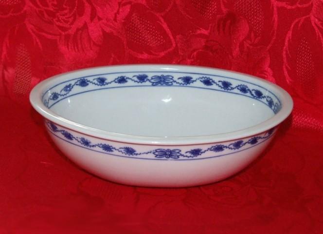 Akce - 50 % Cibulák Mísa zapékací oválná střední 21,5 cm originální cibulákový porcelán Dubí, cibulový vzor, 1.jakost