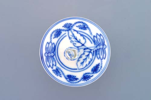 Víko bez výřezu k hořořčičníku 0,10 l originální cibulákový porcelán Dubí, cibulový vzor 1. jakost