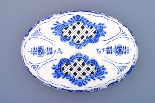 Víko k bonboniéře oválné na 1 kg, 29 cm originální cibulákový porcelán Dubí, cibulový vzor, 1.jakost