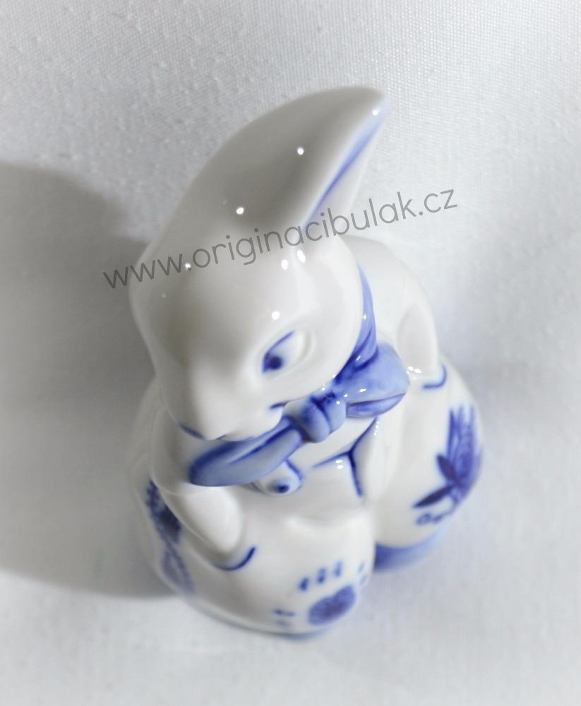Cibulák Zajíc v kalhotách 11 cm originální cibulákový porcelán Dubí, cibulový vzor, 1.jakost