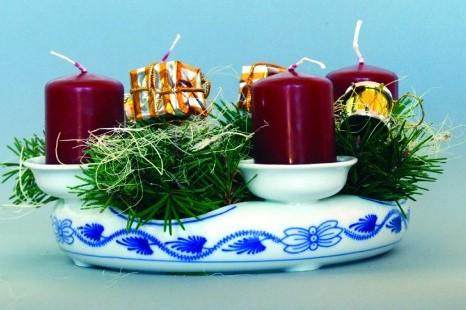 Svícen cibulák adventní 4 svíčky cibulákový porcelán Dubí 2.jak