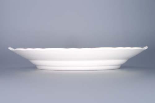 Cibulák talíř koláčový s uchy bílý 28 cm originální cibulákový porcelán Dubí, cibulový vzor, 1.jakost