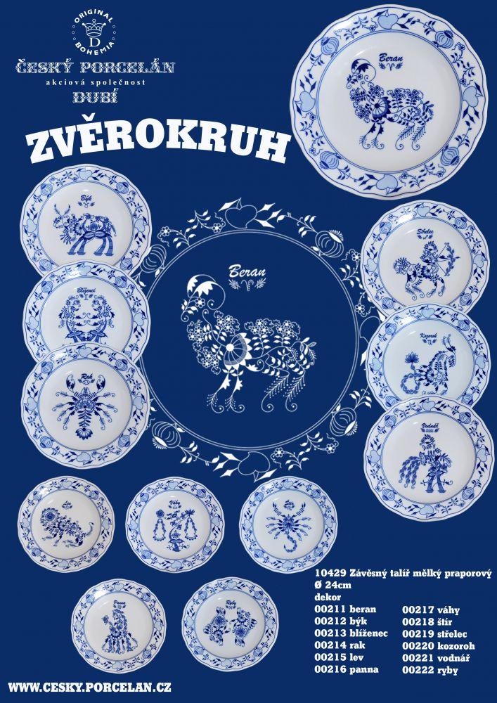 Cibulák talíř 24 cm zvěrokruh Býk horoskop Český porcelán Dubí 1.jak