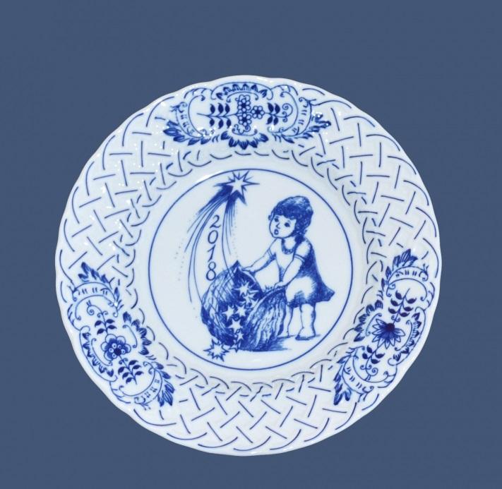 Cibulák výroční talíř 2018, 18 cm originální cibulákový porcelán Dubí , cibulový vzor, 1. jakost
