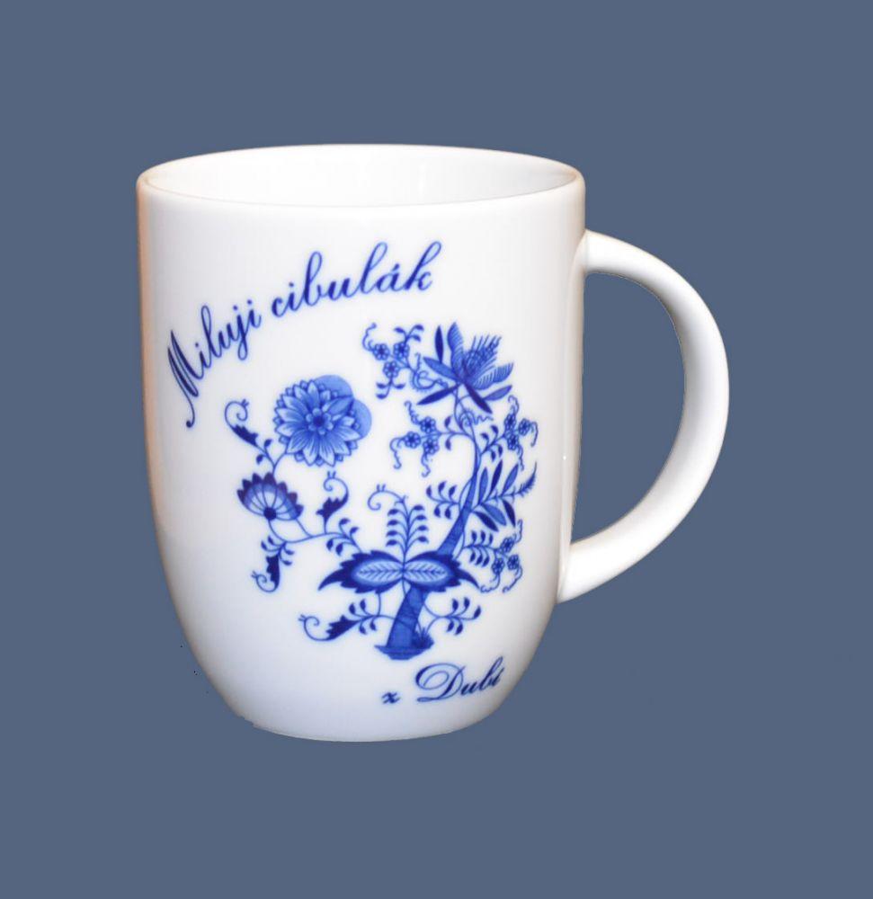 Cibulák hrnek Miluji cibulák Darja 0,26 l , cibulový vzor, 1.jakost český porcelán Dubí