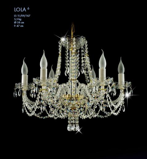 Křišťálový lustr Lola 6 křišťálové lustry