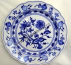 Talíř cibulák mělký 21cm originální cibulákový porcelán Dubí, cibulový vzor 2.jakost